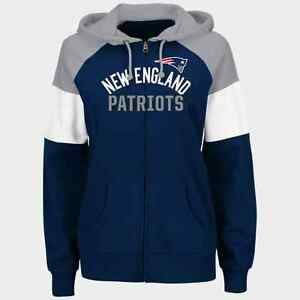 09b10d5f Details about NFL New England Patriots Majestic Women's Hot Route Full-Zip  Hoodie - Navy