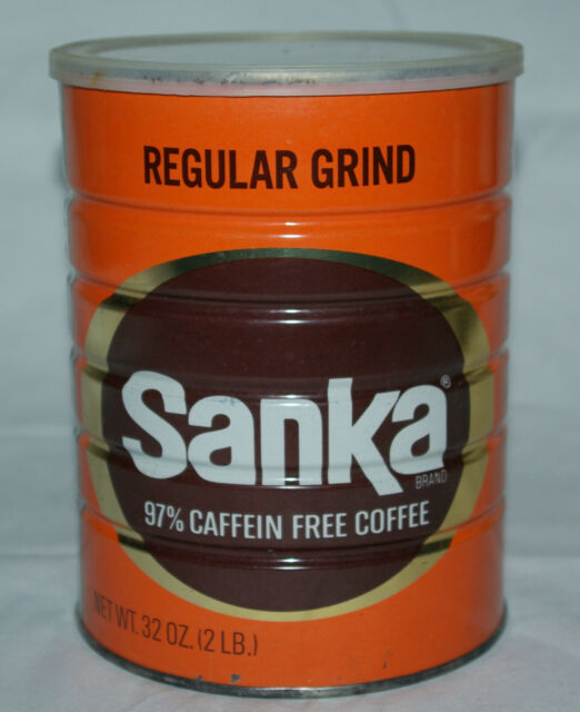 Vintage Sanka Coffee Tin Can 2 lbs 97% Caffein Free with Original Lid Full