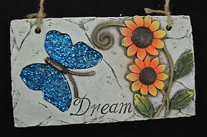 Image Is Loading CERAMIC DREAM WALL PLAQUE SIGN STONE LOOK FLOWER