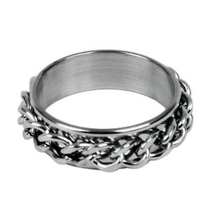 Men-039-s-Stainless-Steel-Curb-Chain-Band-Ring-UK-Size-T-1-2-Silver-R7O6