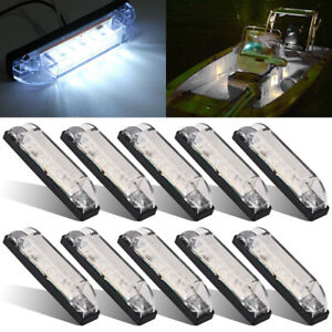 10-Marine-Boat-White-LED-Utility-Strip-Light-Bar-Courtesy-Lights-6LED-12V-Sealed
