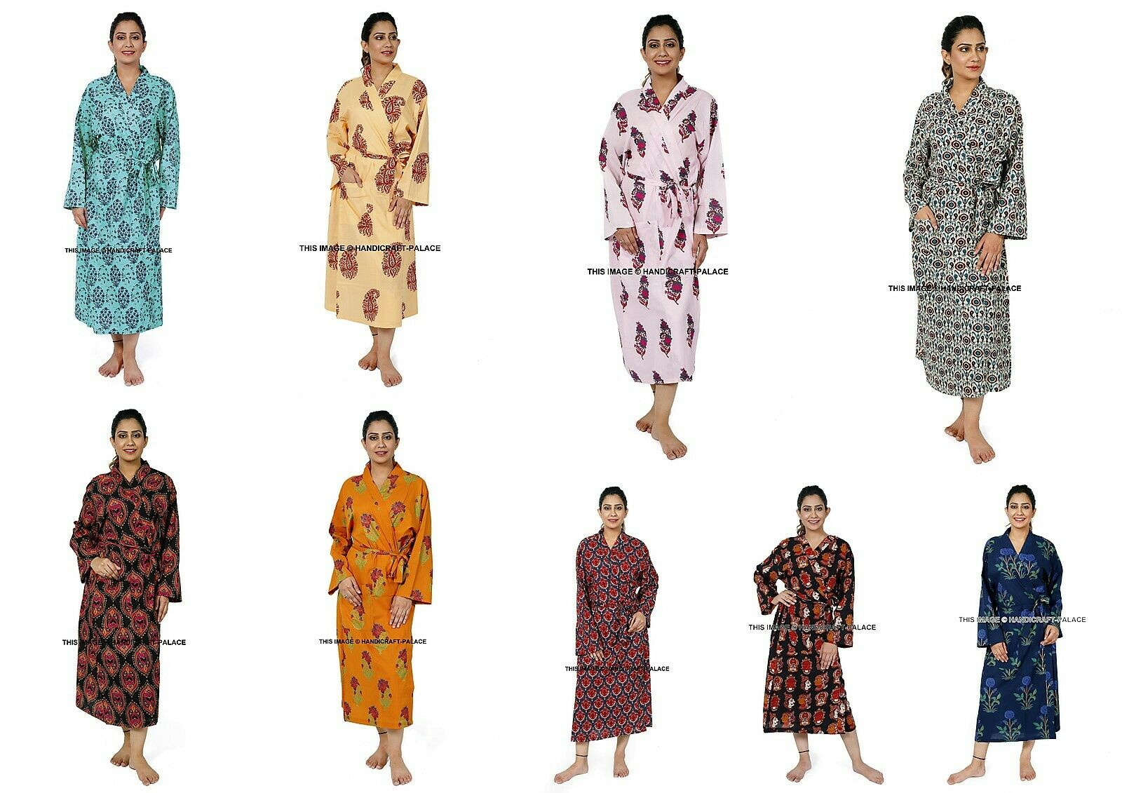 5 pcs Wholesale Lot Indian Cotton Kimono Bath Robe Floral Print Design Nightgown