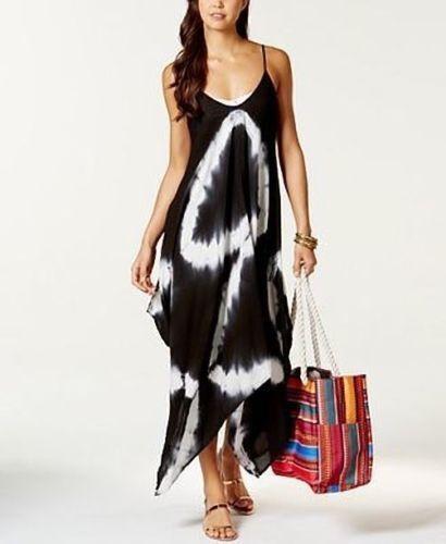bee2f6e79f9 NWT Raviya Swimsuit Cover Up Tie Dye Handkerchief-Hem Dress Plus Size 1X BLK