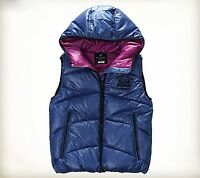 Nii Womens Casual Two Tone Sleeveless Hood Zip Up Puffer Vest Blue Size Xs/s