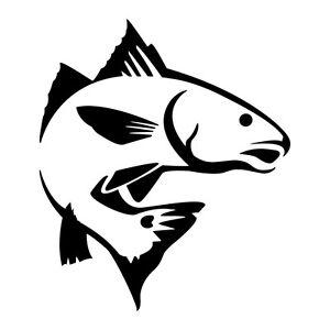 red fish jumping vinyl decal sticker in dark colors ebay rh ebay com Redfish Outline redfish tail clipart