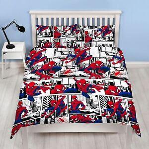 Officiel-Spiderman-Metropole-Housse-de-Couette-Double-amp-D-039-Oreiller-Set-ENFANTS