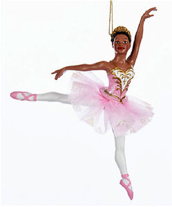 Details about KURT ADLER AFRICAN AMERICAN GLITTERED BALLERINA ON POINTE BALLET XMAS ORNAMENT