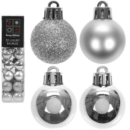 32 x 2.5 cm Arbre de Noël Mini Petites Boules Décoration Glitter ornement 25 mm