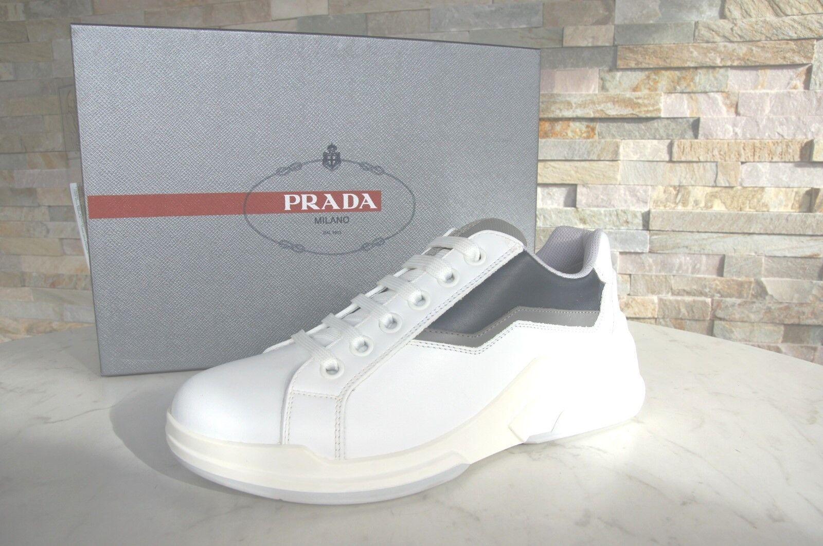 luxus PRADA Gr 39 5 Herren Sneakers Schuhe shoes weiß blau grau NEU UVP 550