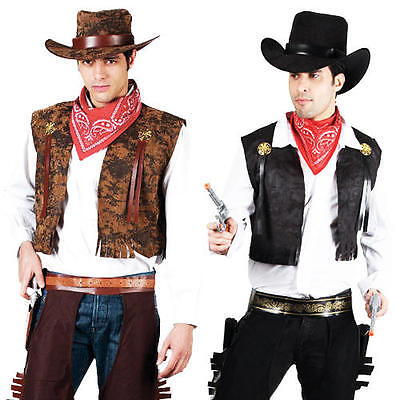 Hat M,L,XL Cowboy Men/'s Fancy Dress Western Adult Sherrif Rodeo Costume Outfit
