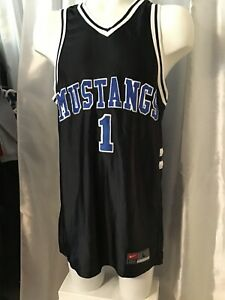 Nike-Mustangs-1-Stitched-basketball-jersey-adult-L-42-Away-Black-w-USA-Flag