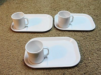 3 Sets of  VTG Rubbermaid Lunch Trays & Mugs Cups 3850 3813 Melamine Melmac Tray