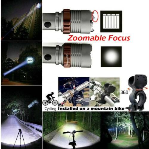 Rechargeable 350000LM Flashlight Zoom T6 LED  Light Torch Headlamp Camping