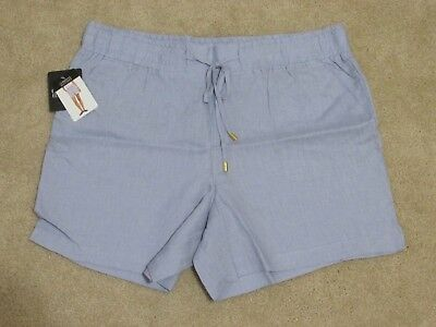 NWT Women/'s ELLEN TRACY Chambray Linen Drawstring Shorts Size Large L