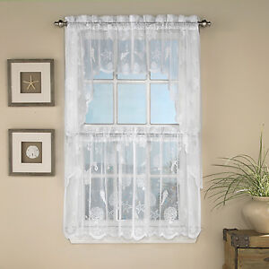 Image Is Loading Reef Marine White Knit Lace Kitchen Curtains Choice