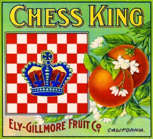 Los Angeles Chess King Orange Crate Label Art Print