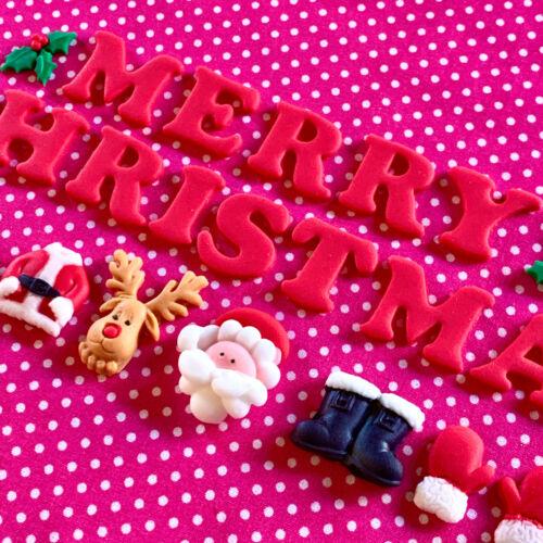 Comestible Santa Joyeux Noël lettres Holly Mix Décoration Cake Topper père