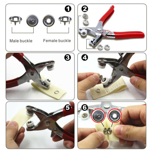 100Set Prong Ring Snap Fasteners//Press Studs Metal Open Ring No Sew Button Plier