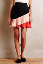 ANTHROPOLOGIE Maeve NWT Sian Mini Skirt Pleated Black Red Pink Sz L $118