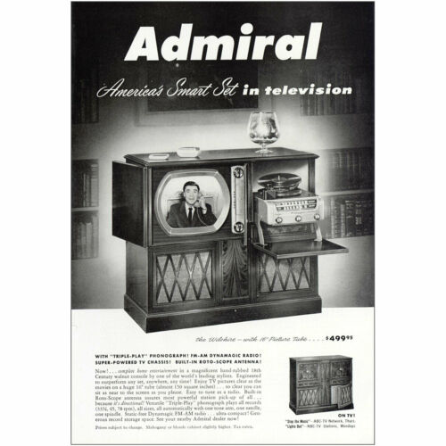 Wilshire Vintage Print Ad 1950 Admiral Television