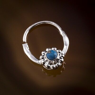 Dotted Flower And Turquoise Stone Silver Septum Ring- Pierced Nose (Code 41)