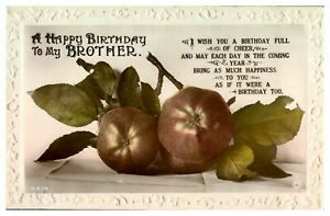 Antique RPPC real photograph postcard card A Happy Birthday to my Brother