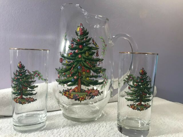 Spode Christmas Tree Glass Pitcher & 2 Highball Glasses ...