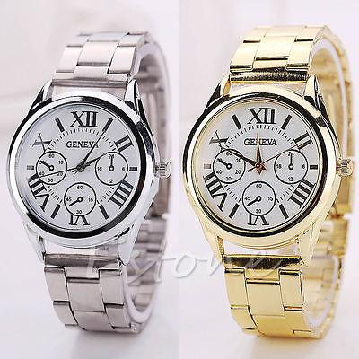 Luxury Women Lady Geneva Gold Stainless Steel Roman Analog Quartz Wrist Watch