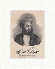 Sultan Hamed bin Thwain von Zanzibar Adel Turban Exotisch Bart Holzstich E 17803