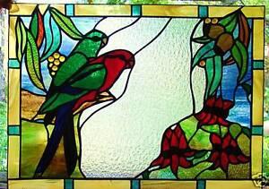 Image Is Loading King Parrots Amp Sturt Desert Pea Leadlight Window