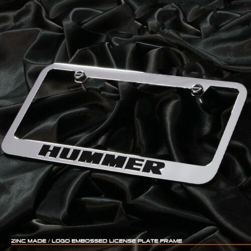For Hummer Humvee Chrome BLK Cast Zinc Metal License Plate Frame Logo Cap Cover