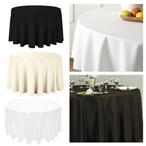 Ivory Polycotton Tablecloth Table Cover Cloth Round Rectangular Square Wedding