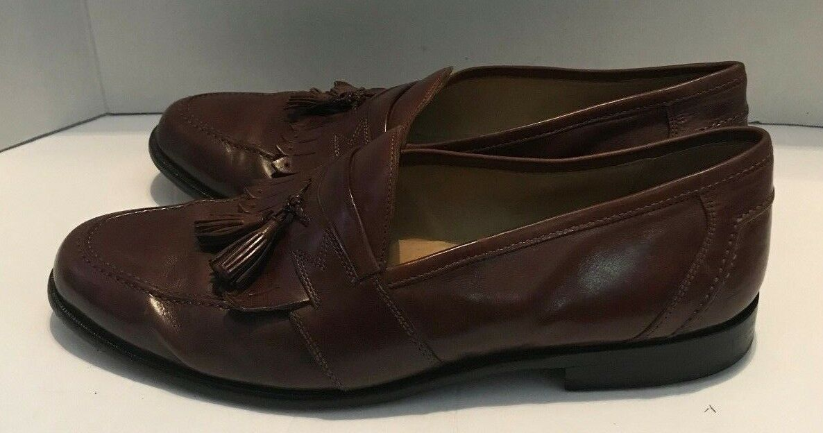 Johnston & Murphy Brown Leather Loafers Size 11.5 Tassel Slip On shoes Mens
