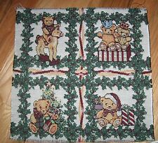 """1 Cute """"Teddy Bear Christmas Tapestry"""" Pillow Top Fabric Panel"""