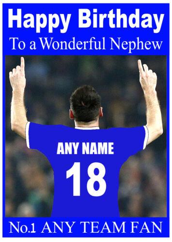 PERSONALISED FOOTBALL ANY TEAM//COLOUR BIRTHDAY CARD SON DAD GRANDSON NEPHEW ETC