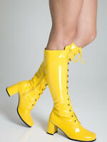 Yellow Knee High Boots - Fashion Eyelet Boots - Size 6 Uk - Yellow Patent