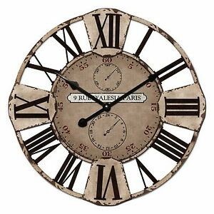60cm-New-Cafe-Home-Decor-French-Provincial-Country-Rustic-Large-Metal-Wall-Clock