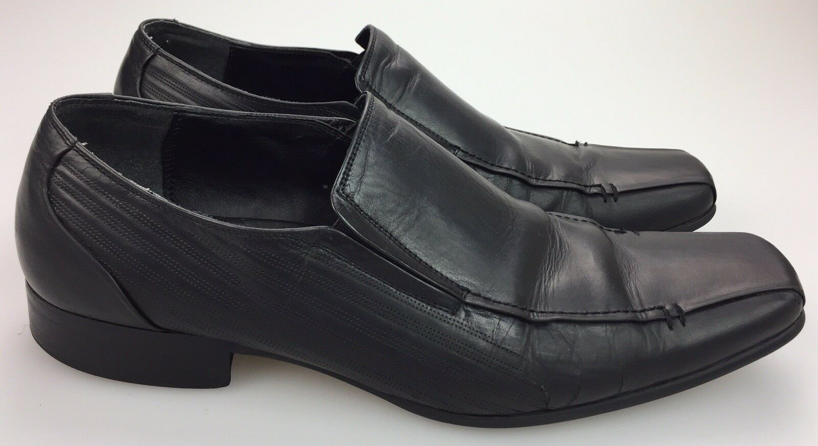 Kenneth Cole New York Magic One Le Black Leather Slip-On Loafer Shoes Mens 10 M