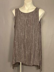 Eileen Fisher Shona Printed Silk Crepe Bateau Neck Charcoal Long  Shell L NWT