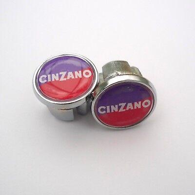 70s Repro Vintage Style /'Team Cinzano/' 80s Caps Chrome Racing Bar Plugs