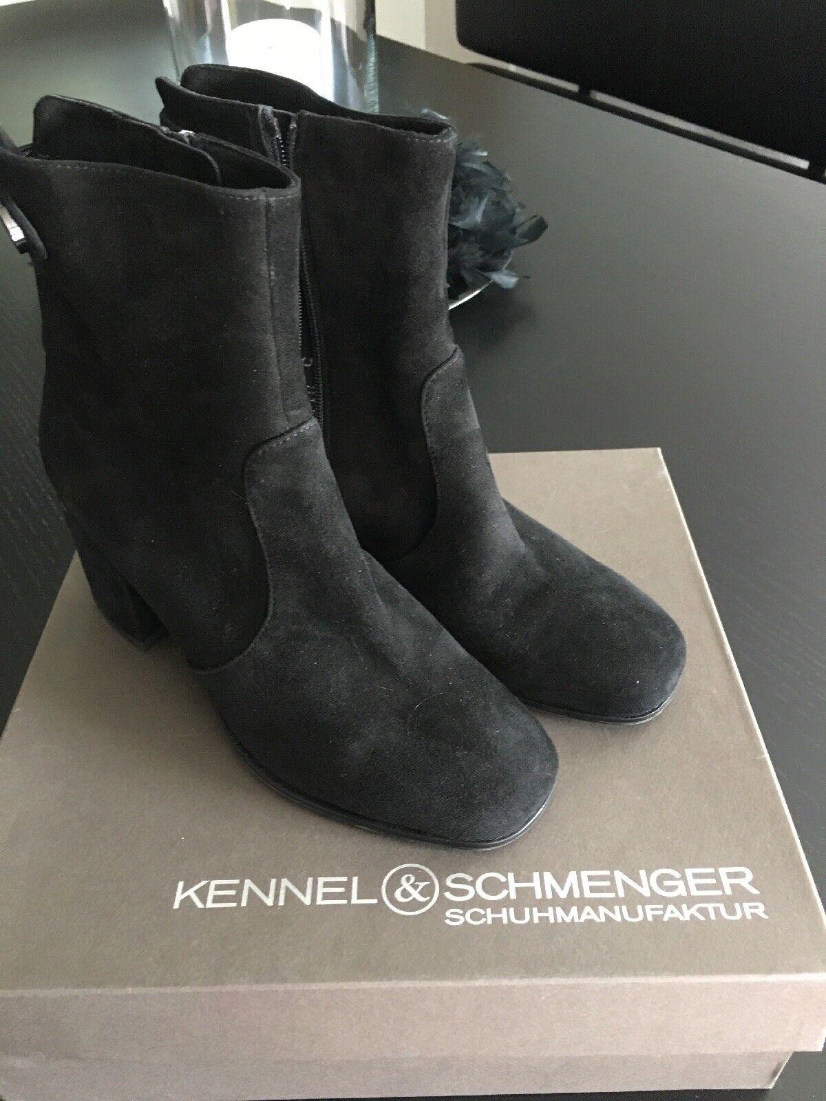 KENNEL UND SCHMENGER K&S Schuhe Stiefeletten Leder Schwarz Gr.38(5) TOP