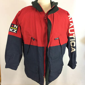 Vintage-Nautica-Sailing-Spellout-Color-Block-Racing-Windbreaker-Coat-Jacket-90-039-s