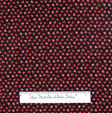 St Valentine's Day Fabric - Mini Pink & Red Hearts Black Timeless Treasures YARD