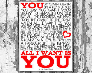 U2 - ALL I WANT IS YOU LYRICS - SongLyrics.com