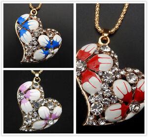 Betsey-Johnson-Enamel-Flower-Crystal-Heart-Pendant-Sweater-Chain-Necklace