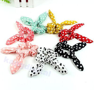 Girls Fashion Rabbit Bunny Ear Ribbon Wire Headband Scarf Hair Tie Cute Head Bow
