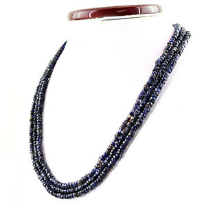 319-20-CTS-NATURAL-3-STRAND-RICH-BLUE-TANZANITE-ROUND-FACETED-BEADS-NECKLACE