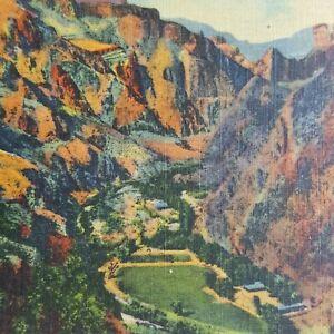 Vertical-Mile-Grand-Canyon-Rim-Mountains-Phantom-Ranch-H-3963-Vtg-Postcard-Litho