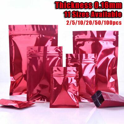 Mylar Pure Aluminum Foil Ziplock Bag 0.2mm Resealable Food Grade Pouch 12 Sizes