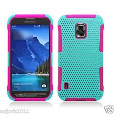 SAMSUNG GALAXY S5 ACTIVE G870A HYBRID MESH CASE SKIN COVER LIME GREEN PINK